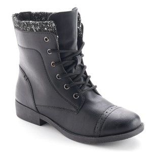EVERYTHING $5! Mudd lace-up knit-cuff boots